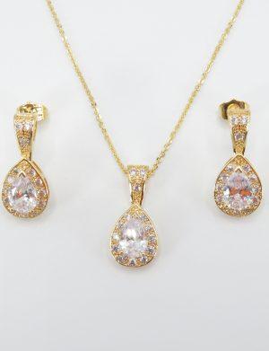 Set bijuterii mireasa, colier cu pandantiv & cercei – ILIF1841