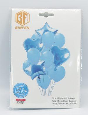 Baloane din folie si latex, 14buc/set, Bleu – ILIF1913