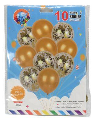 Baloane Cu Confeti Sclipici, 10buc/set, Auriu – ILIF199