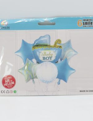 Baloane Baby Shower Carucior, 6 buc/set, Bleu – ILIF195