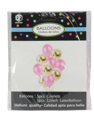Baloane Cu Confeti Sclipici, 10buc/set, Roz – ILIF1911