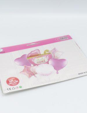 Baloane Baby Shower Carucior, 6 buc/set, Roz – ILIF196