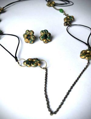 Set Colier Cercei Floricele Verde Cu Auriu