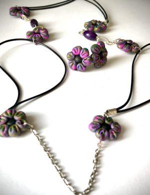 Set colier + cercei floricele violet, AHGL12537