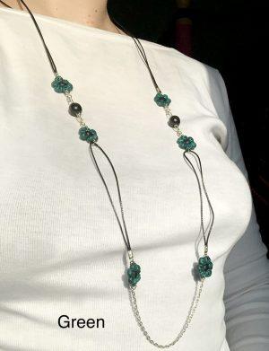 Set colier + cercei floricele verde smarald