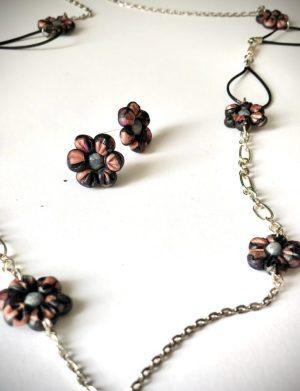 Set colier + cercei floricele colorate, AHGL12549