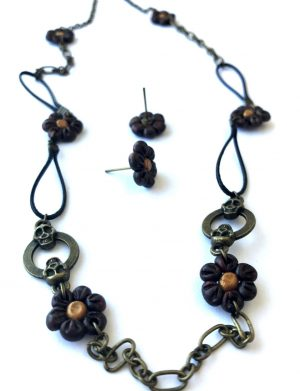 Set colier + cercei floricele bronz