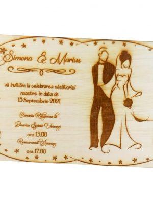 Invitatie nunta din lemn, gravata laser, 10×15 cm, (mostra) SOMIS168