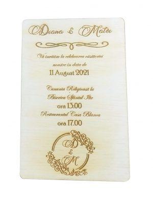 Invitatie nunta placaj OMIS 23hEvents 2