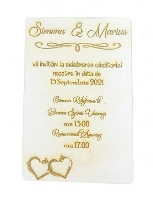 Invitatie nunta din lemn, gravata laser, 10×15 cm, OMIS163