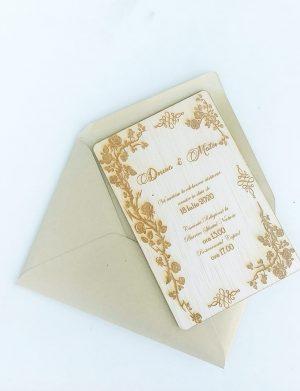 Invitatie de nunta din placaj, 10×15 cm, OMIS166