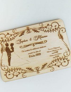 Invitatie nunta din lemn, gravata laser, 10×15 cm, (mostra) SOMIS167