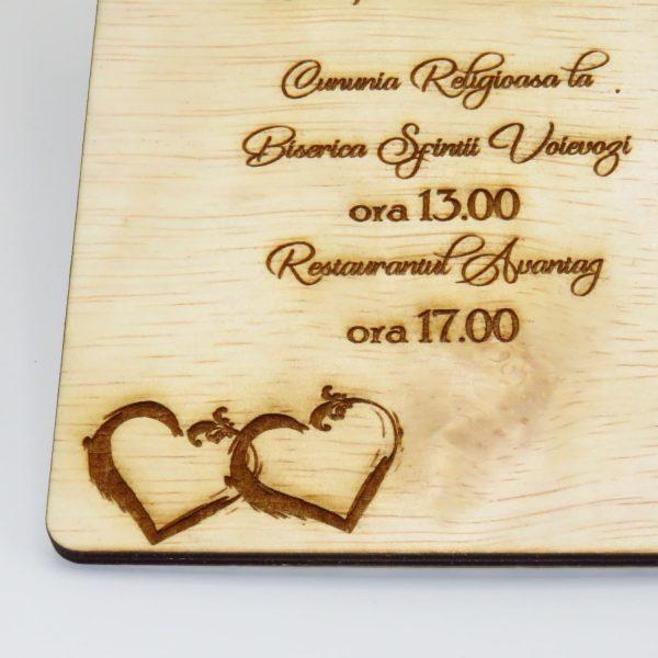 Invitatii nunta sau botez din lemn gravate laser 23h Events 1