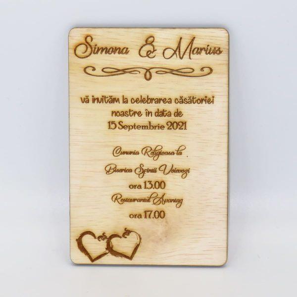 Invitatii nunta sau botez din lemn gravate laser 23h Events 13