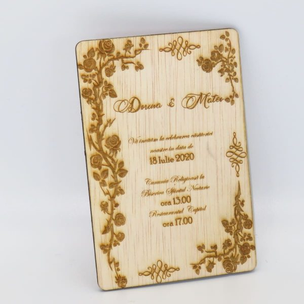 Invitatii nunta sau botez din lemn gravate laser 23h Events 15