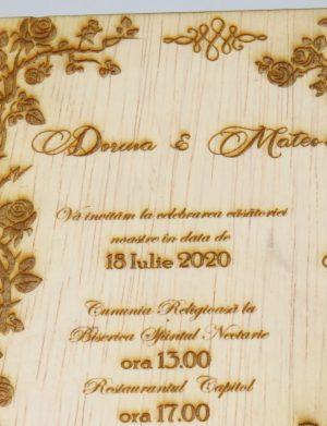 Invitatie nunta din lemn, gravata laser, 10×15 cm, (mostra), SOMIS166