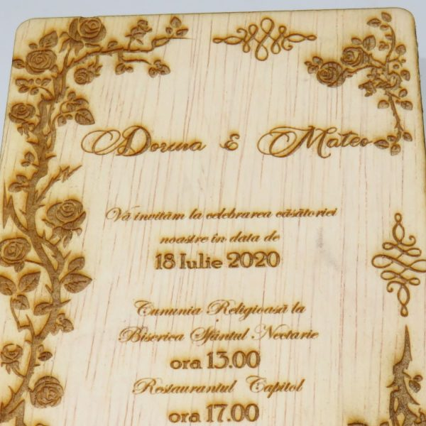 Invitatii nunta sau botez din lemn gravate laser 23h Events 2