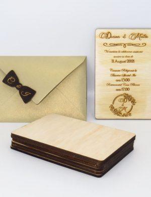 Invitatie nunta din lemn, gravata laser, 10×15 cm, (mostra), SOMIS162