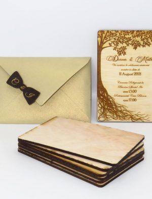 Invitatie nunta din lemn, gravata laser, 10×15 cm, (mostra), SOMIS165