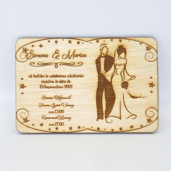 Invitatii nunta sau botez din lemn gravate laser 23h Events 28