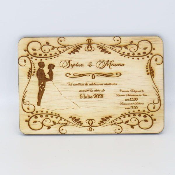 Invitatii nunta sau botez din lemn gravate laser 23h Events 29