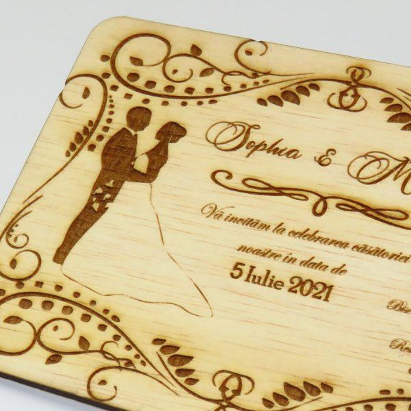 Invitatii nunta sau botez din lemn gravate laser 23h Events 30