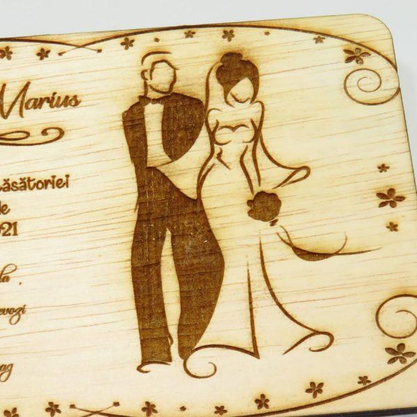Invitatii nunta sau botez din lemn gravate laser 23h Events 31