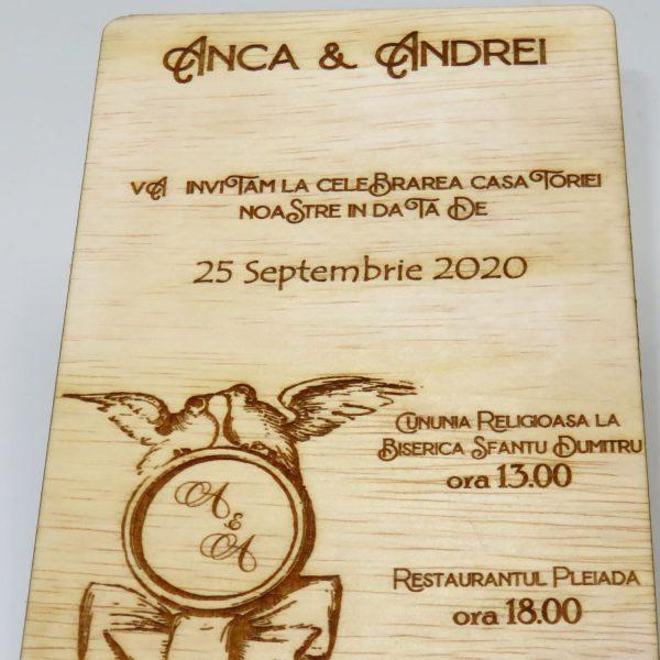 Invitatii nunta sau botez din lemn gravate laser 23h Events 6