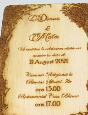Invitatie nunta din lemn, gravata laser, 10×15 cm, (mostra), SOMIS169