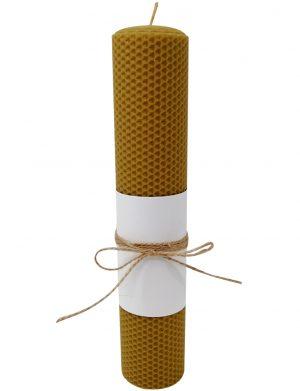 Lumanare botez din ceara naturala de albine, 30 cm inaltime, DSPH186