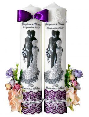 Lumanari imprimate si decorate cu flori de matase, FEIS023