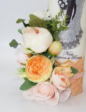 Lumanari imprimate si impodobite cu flori de matase FEIS022