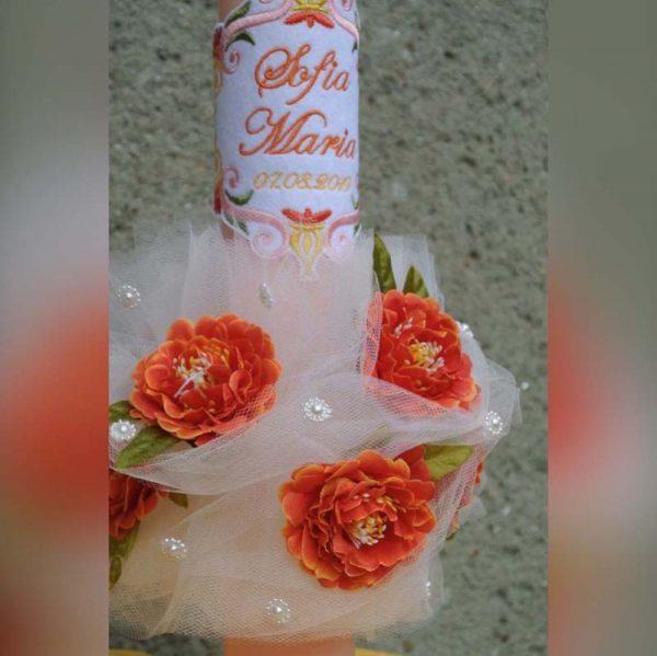 Lunmanare botez cu flori si dantela 3