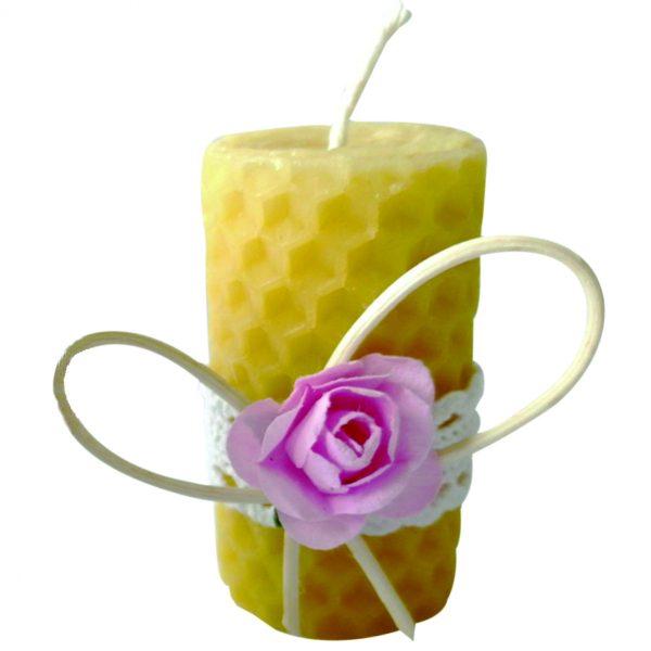 Marturie botez lumanare de fagure de albina floare roz 23h Events 1