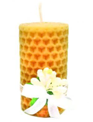 Marturie botez lumanare din ceara de albine, floare alba, DSPH151