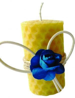 Marturie nunta sau botez lumanare din ceara de albine floare albastra, DSPH154