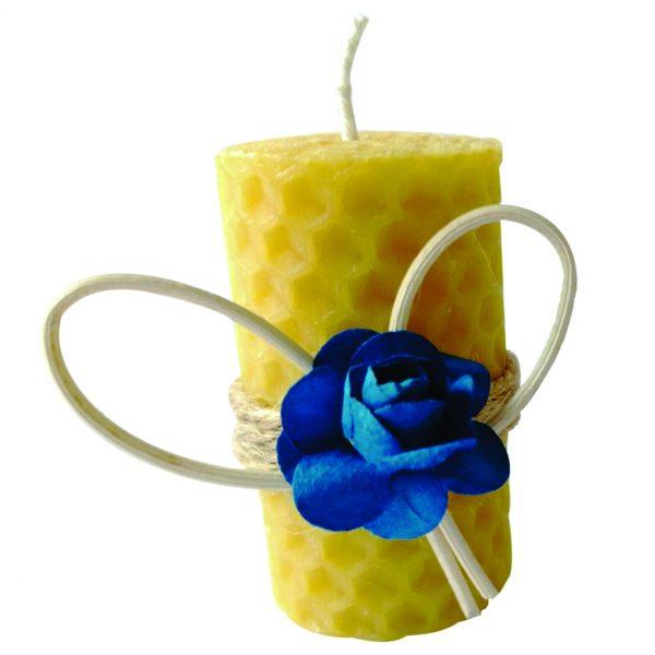 Marturie botez lumanare din ceara de albine floare albastra 23h Events