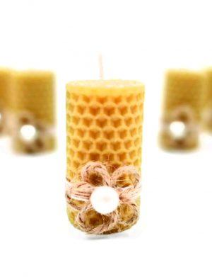 Marturie nunta sau botez lumanare din ceara de albine floricica traditionala din sfoara, DSPH152