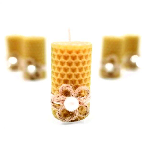 Marturie botez lumanare din ceara de albine floricica traditionala 23h Events 2