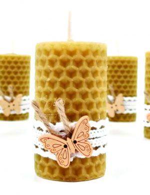 Marturie nunta sau botez lumanare din ceara de albine fluturas, DSPH150