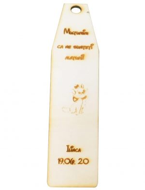 Marturie semn de carte cu pisica Marie, din lemn, personalizata, maro OMIS007