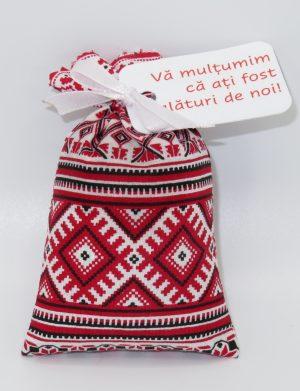Marturie saculet cu lavanda, model traditional rosu, AMB191