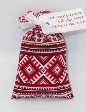 Marturie saculet cu lavanda, model traditional rosu, SAMB191
