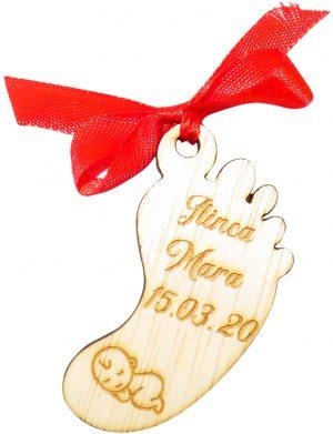 Marturie talpita, din lemn, personalizata, maro cu funda rosie, (mostra), SOMIS189