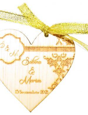 Marturie nunta 3, din lemn, personalizata, maro cu fundita, (mostra), SOMIS1815