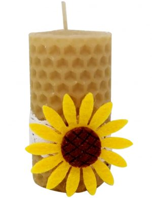 Marturie nepersonalizata, lumanare din ceara de albine, Floarea-soarelui, DSPH181