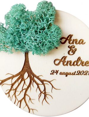 Marturie nunta/botez COPACUL VIETII, Albastru Pacific, cu licheni stabilizati, diam. 10 cm, AMB175
