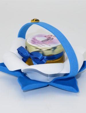 Marturii dulci cu miere, model handmade Bondarel – albastru, borcan 30 gr – DSBC196