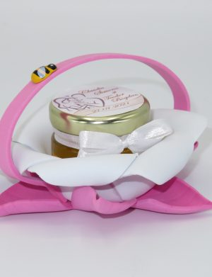Marturii dulci cu miere, model handmade Bondarel – roz alb, borcan 30 gr – DSBC1915
