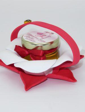 Marturii dulci cu miere, model handmade Bondarel – rosu, borcan 30 gr – DSBC197